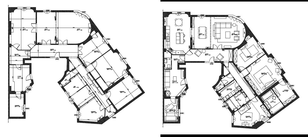 Plan de rénovation avant - après d'un appartement haussmannien de 230m2