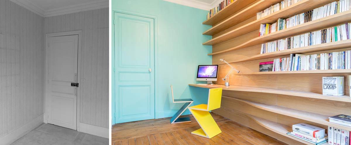 Création d'un bureau - bilbliothèque par un architecte d'intérieur