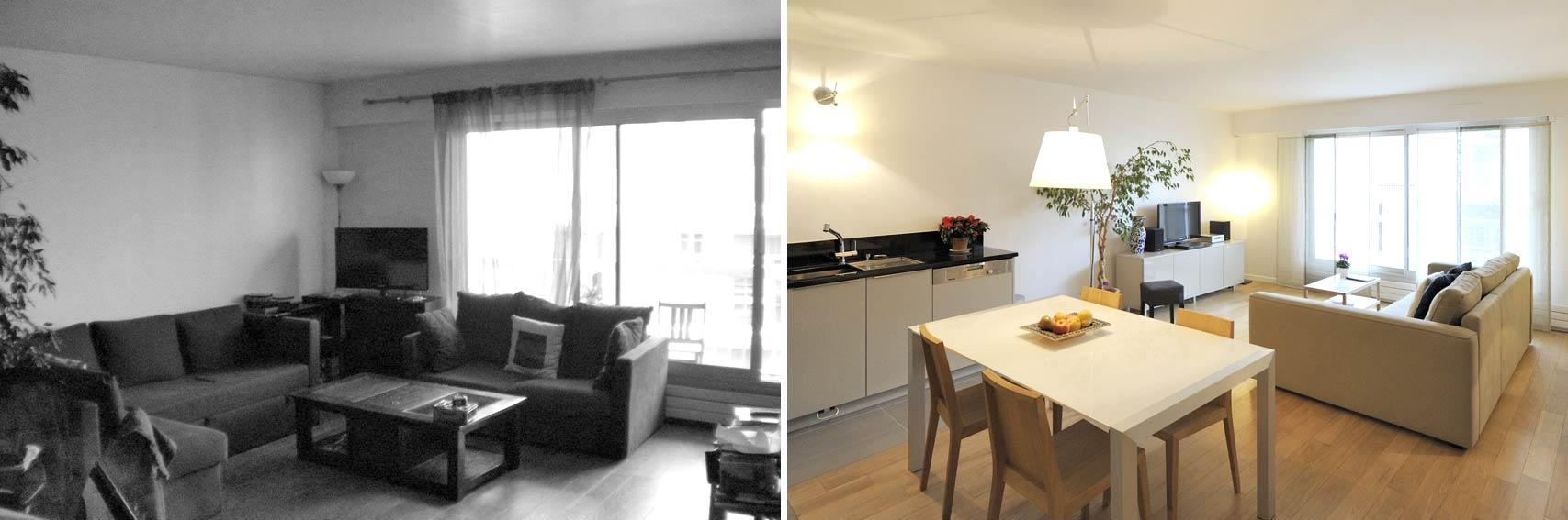 avant apr s am nagement appartement 4 pi ces 90m2. Black Bedroom Furniture Sets. Home Design Ideas