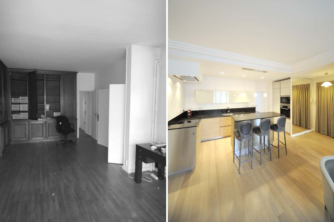 Un architecte d'intérieur aménage une cuisine ouverte dans un appartement