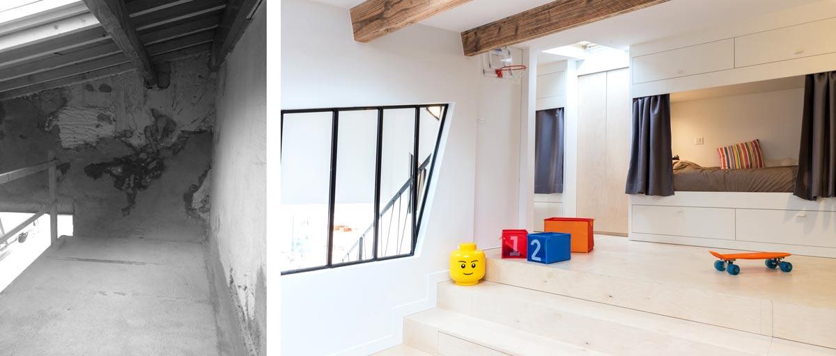 Photo avant et  après d'un loft avec une chambre d'enfant