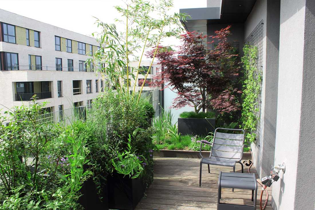 Landscaping of a penthouse terrace in Nantes
